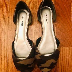New Camo Peep Toe Flats